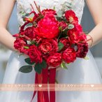 ウエディングブーケ ブーケ 赤 結婚式  安い 花嫁 ブライダルブーケ 二次会 造花 手作り ブートニア