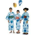 子供浴衣 日本製 魚アレンジ柄(四本紐付)(ERい-10)