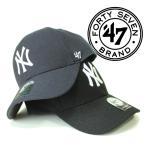 47 Brand フォーティセブン ヤンキース  ロゴ刺繍 キャップ ネイビー ブラック マジックテープ レディース メンズ スナップバック