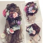 【21点セット】ピンク&紫髪飾り・ヘッドドレス・成人式・卒業式・結婚式・パーディー・和婚