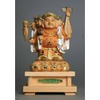 木彫仏像 三面大黒天像 総高14cm 桧材 淡彩色仕上