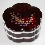 紀州塗り 7.5寸 桜型 二段オードブル 重箱 別甲 彩桜 シール蓋付 大型 弁当箱 おしゃれ 2段 お重箱 かわいい おせち 正月 花見