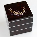 重箱 紀州塗り 6寸 三段重 別甲 彩桜 タッパー付 送料無料