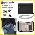 スキミング防止 ウォレット 三つ折り財布 ベルクロ留め ストラップ付き 盗難防止機能搭載 海外旅行推奨 パックセーフ Pacsafe 17 RFIDセーフ V125