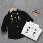 シャツ 男の子 女の子 キッズ 白シャツ 黒シャツ 子供服 入学式 長袖 猫ちゃん フォーマル 子供 合唱