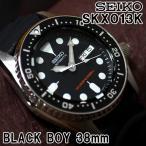 セイコー 海外モデル 逆輸入 ダイバーズ ブラックボーイ 38mm SEIKO 腕時計 メンズ ブラック文字盤 ウレタンベルト SKX013K