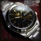セイコー5 海外モデル 逆輸入 SEIKO5 腕時計 メンズ ブラック文字盤 ステンレスベルト SNKM67K1 サイズ調整無料