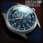セイコー5 スポーツ ミリタリー 海外モデル 逆輸入 自動巻き SEIKO5 腕時計 メンズ ネイビー文字盤 ブルー ナイロンベルト SNZG11K1 在庫終わり次第終了