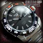 セイコー5 スポーツ ダイバーズ 海外モデル 逆輸入 自動巻き SEIKO5 腕時計 メンズ ブラック文字盤 ステンレスベルト SRP167K1 サイズ調整無料