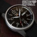 セイコー5 スポーツ ミリタリー 海外モデル 逆輸入 自動巻き SEIKO5 腕時計 メンズ ブラック文字盤 ブラック ナイロンベルト SRP625J1