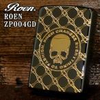 ショッピングzippo ジッポー ZIPPO ライター Roen ロエン スカル ブラック ゴールド 両面加工 ROEN-ZP004GD オイル小缶1本付き