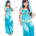ハロウィンコスプレ衣装女性ディズニーアラジンジャスミン風ドレス仮装コスチュームCO-COエメラルドアラビアン
