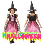 ハロウィン衣装子供魔女女の子ハロウィンコスプレ魔女ハロウィン仮装子供メロディドレス(ピンク)120
