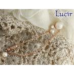 Lucir 送料無料 胸元にホワイトパールのバラ ladychicシリーズピンプローチ(ピンクゴールド)