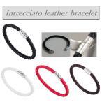 ブレスレット メンズ レディース ブレス イントレチャート 編み込み レザー メッシュ ブランド ステンレス マグネット バングル 皮革 磁石 ペア おすすめ