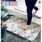 玄関マット おしゃれ 屋外 通販 室内 屋内 屋外用 大判 シンプル かわいい 泥落とし 敷物 丸洗い 水洗い 英文 ロゴ ストライプ トライアングル 60×90cm