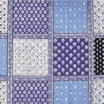 ソレイアード シーチング生地  パッチワークパネル柄 ブルー地  メーカー在庫がなくなり次第販売終了です 1パネル単位での切り売り