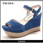 ショッピングプラダ ストラップ PRADA プラダ ブルー スウェード 太ストラップサンダル