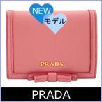 プラダ PRADA 財布 新作 レディース 二つ折り財布 ピンク リボン 1MV204 アウトレット