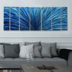 Aqua Blue Plumage インテリアアート デザイナーズ家具との相性抜群!(メタル抽象アートパネル、モダン彫刻インテリア、オフィスデコ、インテリアパネル)