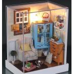 ドールハウス ミニチュア 手作りキット セット おしゃれな部屋シリーズ LEDライト + アクリルケース付 ( 1Pソファのあるくつろぎワンルーム )