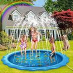 噴水マット プレイマット 噴水プール 170CM直径 水遊び ビニールプール スプラッシュパッド 子供噴水おもちゃ 夏の日 家庭用 自宅 親