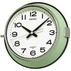 送料無料 セイコー 防塵タイプクオーツ掛時計 レトロなバス時計 船舶時計 KS474M  薄緑