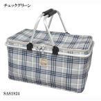 クーラーバスケット 保冷バッグ アルミシート仕様 チェックグリーン SAS-1824