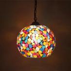 ショッピングペンダント ペンダントライト 1灯 アトリエグラス ランプ バルーン LED対応 モザイク ステンドグラス レトロ