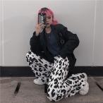 ダルメシアン柄 ワイドパンツ ストレート ボトムス ダンス 衣装 韓国 ヒップホップ レディース ゆるい レジャー