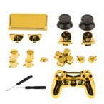 フロントハウジング シェルケース フルボタンセット キット ドライバー付き Sony PS4 Pro のために適した ゴールデン