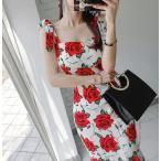 ショッピングオフショル 花柄ワンピース フラワーワンピース マーメイド スレンダーライン 20代 30代 40代 パーティドレス セクシー 白