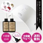 送料無料 ジェルネイル・クラフトレジン 36w UV LEDライト 2in1 人感センサー付き UV LED兼用ライト+レジン液 75g(2本)