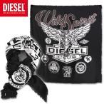 DIESEL ディーゼル ストール マフラー スカーフ SBLUE SCARF ブラック 黒 ヘリンボーンコットン プリント メンズ アクセサリー 小物