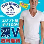 深VネックTシャツ エジプト綿ギザ GIZA イージーモンキー限定 日本製 Made in JAPAN コットン100% コーマ糸 半袖Tシャツ 肌着 メンズ 男性 インナー