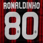 子供用 K002 ACミラン RONALDINHO*80 ロナウジーニョ  赤黒 20 ゲームシャツ パンツ付 キッズ ジュニア サッカー ユニフォーム