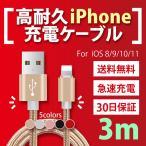 iPhone�����֥� ���ť����֥� �ǡ���ž�������֥� USB�����֥� iPhone8 Plus iPhoneX 3m