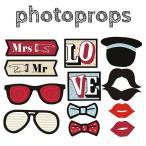 フォトプロップス 当店オリジナル 9点セット(Photo Booth Prop) 結婚式 二次会 誕生日会 パーティーで大活躍 ウエディンググッズ パーティーグッズ
