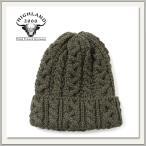 HIGHLAND2000(ハイランド2000) BOB CAP(ウール ニット帽) OLIVE(オリーブ/緑色)[ケーブル編み/毛糸][キャップ/帽子/ビーニー][メンズ/レディース/男女兼用]