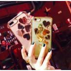 ショッピングハートゴールド iPhone7/8  スマホ ケース ハートデザイン 3カラー ゴールド シルバー ピンク 可愛い お洒落