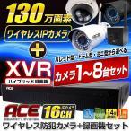 防犯カメラ ハイブリッド録画機XVR+無線カメラ1〜8台セット ワイヤレス 屋内・屋外用 WiFi 無線 監視カメラ IPカメラ ネットワークカメラ 遠隔監視