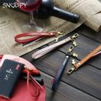スヌーピー 本革 ハンドストラップ イタリアンレザー ショートストラップ  フック式 スマホ スマートフォン パスケース 社員証 TE540S