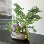 Yahoo!光の楽園ショップ モントブレッテ光触媒人工観葉植物テーブルタイプ ミックスクッカバラ、〔花器:ストーン(樹脂加工品)〕、新商品