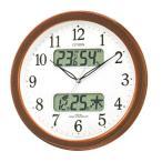 壁掛け時計 シチズン 電波時計 CITIZEN 温湿度計 カレンダー付き 暗くなると音の静かな 掛時計 ネムリーナ 4FYA01-006 文字入れ対応、有料 取り寄せ品