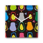 ラ・フランス の食品をデザインしたファブリック(布地)掛け時計 四角 受注生産品