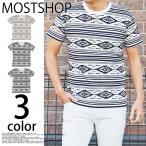 ショッピング柄 Tシャツ メンズ 半袖 オルテガ柄 ネイティブ柄 ボーダー プリントTシャツ クルーネック 総柄 カットソー