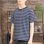 ショッピングボーダー ボーダーTシャツ メンズ 半袖Tシャツ パネルボーダー Vネック カットソー ランダムボーダー 春夏 マリンボーダー