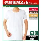 3組セット 計6枚 愛情らくらく 介護ウェア 半袖ボタン付きシャツ 2枚組 介護下着 介護肌着 Mサイズ Lサイズ グンゼ GUNZE 綿100% HW8214-SET