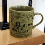 リサラーソン 陶器のマグカップ スケッチいぬたちパターン/オリーブ