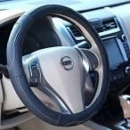 AUTOMAN(オートマン) 本革 ハンドルカバー 本格的な革巻きハンドルカバー 軽自動車 普通車にぴったり 黒色本革 Cowhide Leather 適合サイズ 直径36.5〜38.0cm